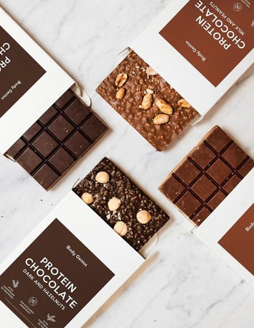 Pack de 4 chocolats protéinés