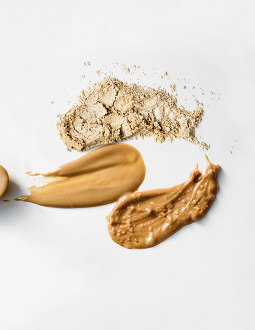 Defatted peanut powder trio